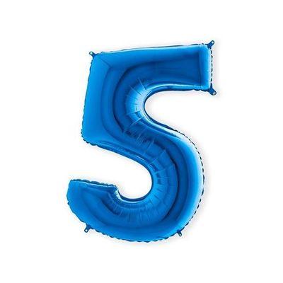 Folieballon cijfer 5 blauw XL (100cm)