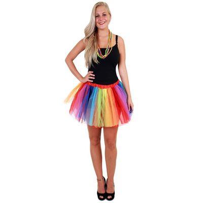 Foto van Tule rokje regenboog strepen dames one size