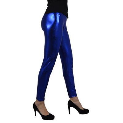 Metallic legging blauw