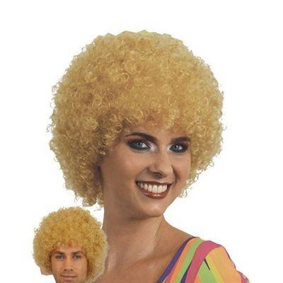 Afro Pruik mini blond