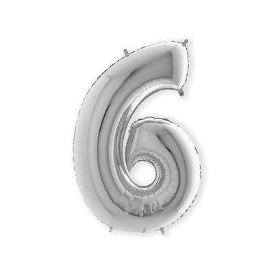Foto van Folieballon cijfer 6 zilver XL (100cm)