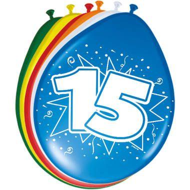 Foto van Leeftijd ballonnen 15 jaar 8 stuks