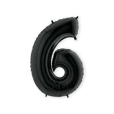 Foto van Folieballon cijfer 6 zwart XL (100cm)