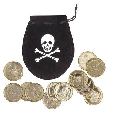 Set Piratenzakje met 12 gouden munten