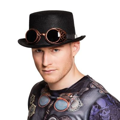 Hoge hoed steampunkgoggles