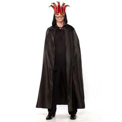 Lange cape met capuchon - Zwart