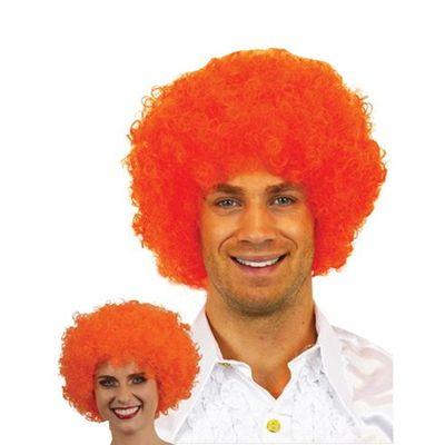 Afro pruik mini oranje