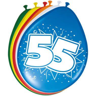 Foto van Leeftijd ballonnen 55 jaar 8 stuks