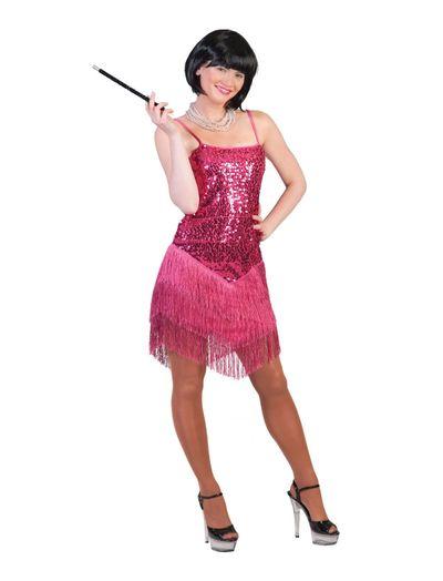 Jaren 20 jurkje showgirl roze