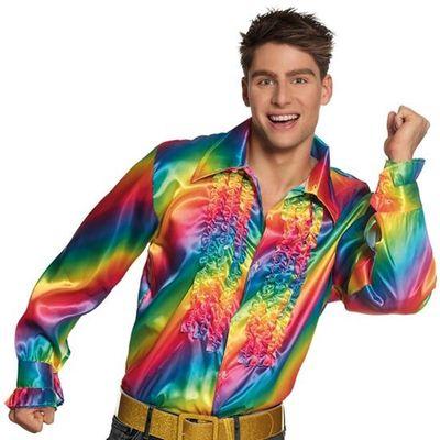 Foto van Disco blouse regenboog