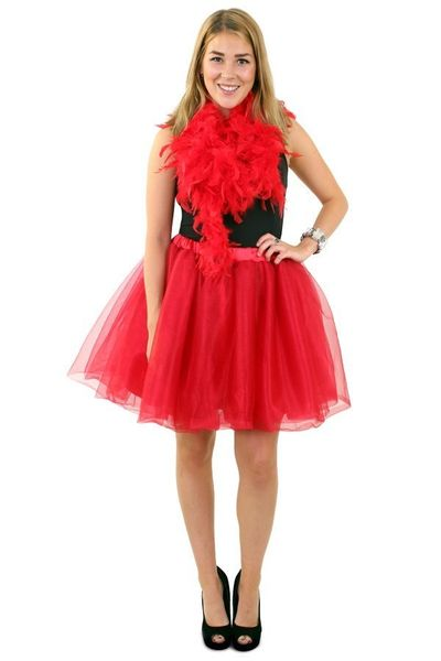Tule rok rood dames one size