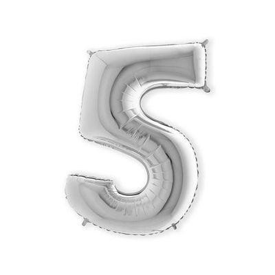 Folieballon cijfer 5 zilver XL