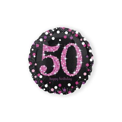 Folie ballon 50 jaar roze