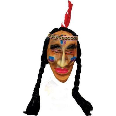 Foto van Indianen masker met vlechtjes