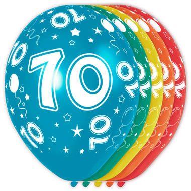 Foto van Leeftijd ballonnen 70 jaar 5 stuks