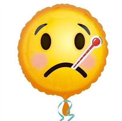 Folieballon emoticon ziek