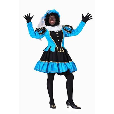 Dames pietenjurk zwart/turquoise
