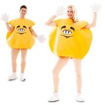 M&M pak geel volwassen kostuum