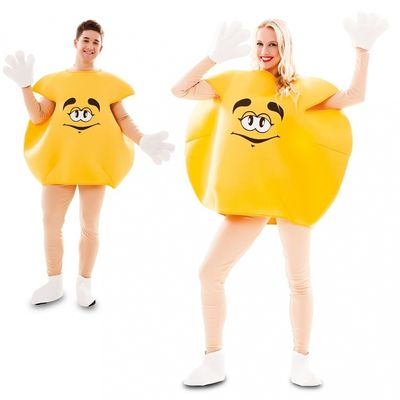 Geel M&M kostuum