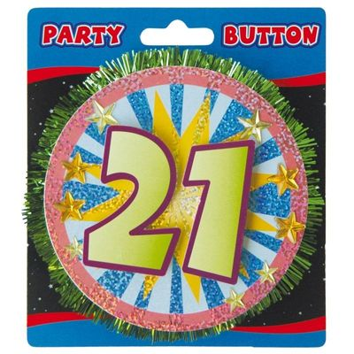 3D Button 21 Jaar /stk