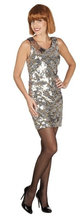 Afbeelding van Pailletten jurkje zilver