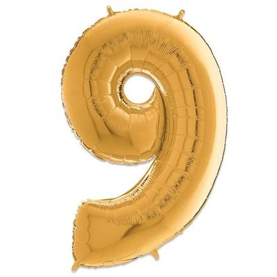 Folieballon cijfer 9 goud (66cm)
