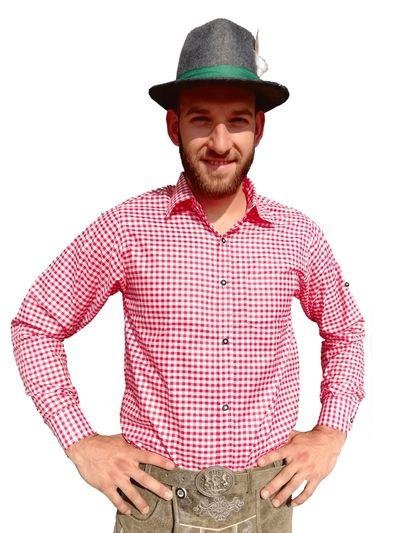 Tiroler overhemd rood-wit