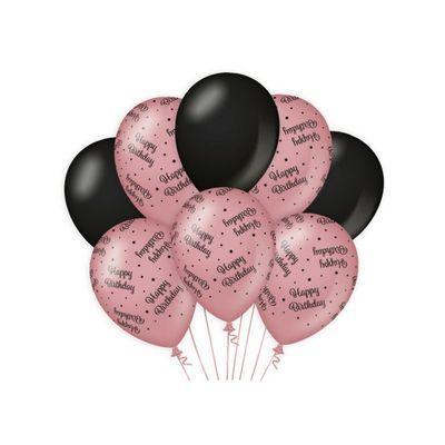 Ballonnen Happy Birthday Rose/Zwart