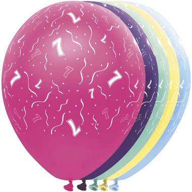 Foto van Leeftijd ballonnen 7 jaar 5 stuks