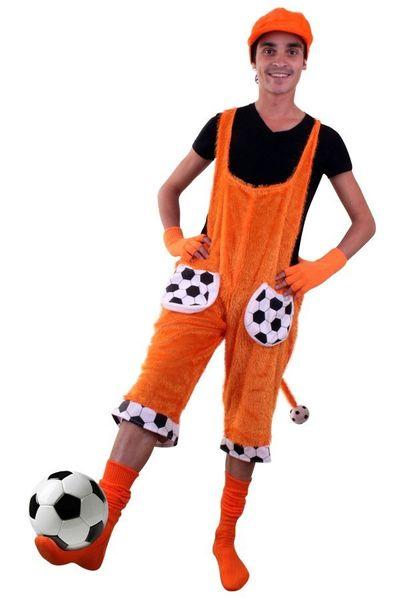 Tuinbroek oranje voetbal met staart unisex kinderen