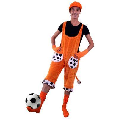 Foto van Tuinbroek oranje voetbal met staart unisex kinderen