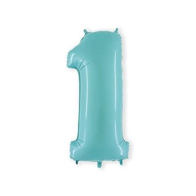 Foto van Folieballon cijfer 1 mintblauw XL (100cm)