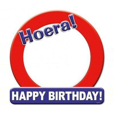 Foto van Hulde schild Happy Birthday blanco