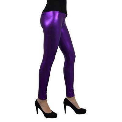 Metallic legging paars