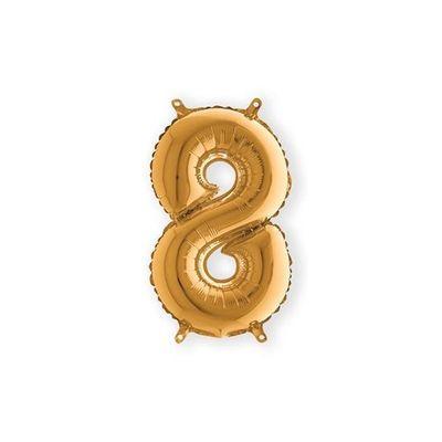 Folieballon cijfer 8 goud klein (35cm)