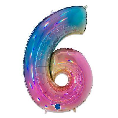 Foto van Folieballon cijfer 6 regenboog XL