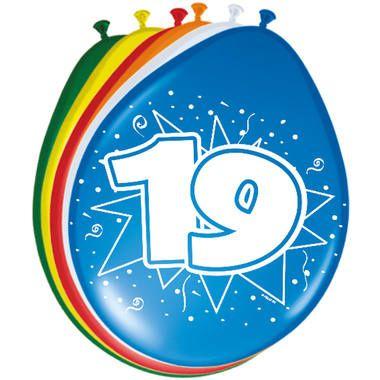 Foto van Leeftijd ballonnen 19 jaar 8 stuks