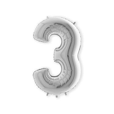 Folieballon cijfer 3 zilver XL (100cm)