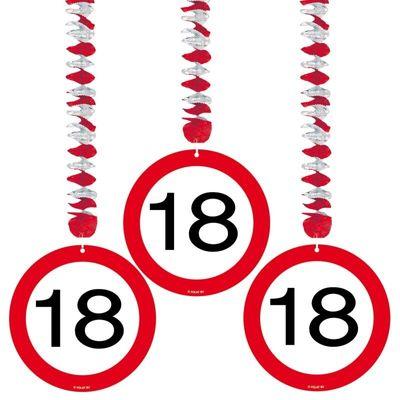 Hangdecoratie Verkeersbord 18 jaar/3stk