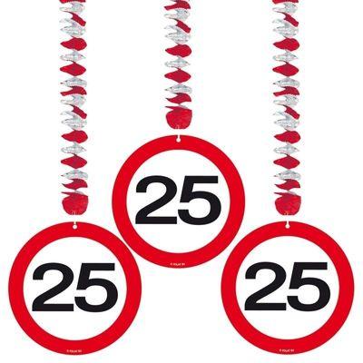 Hangdecoratie Verkeersbord 25 jaar/3st