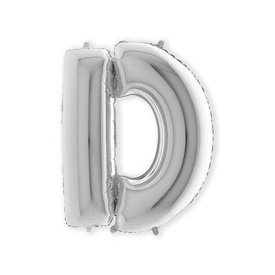 Foto van Folieballon letter D zilver XL (100cm)