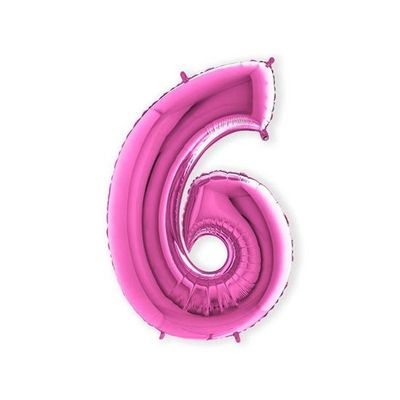 Foto van Folieballon cijfer 6 roze XL (100cm)