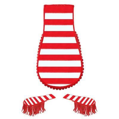 Foto van Schouder broche circus rood/wit gestreept
