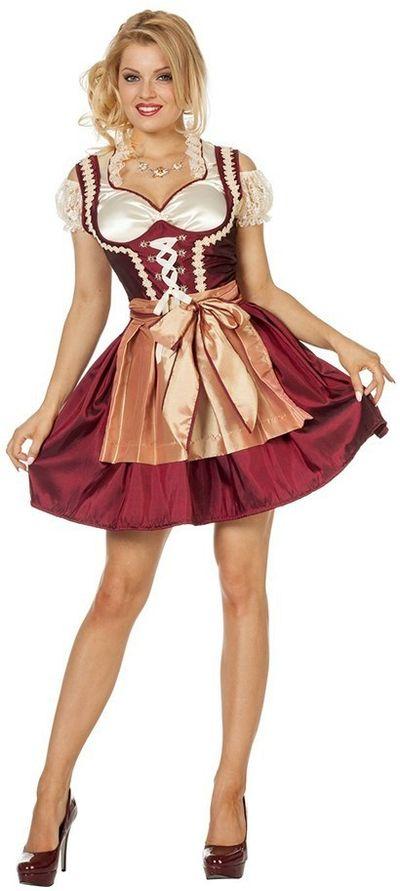Dirndl jurk (grote maten) Roos