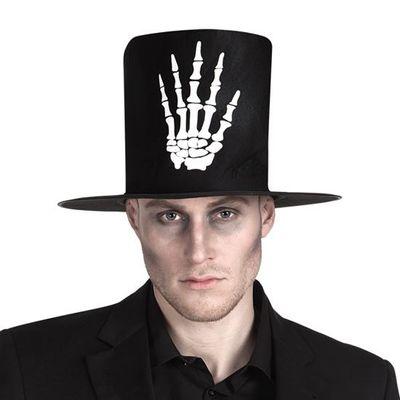 Hoge hoed met skelethand