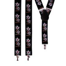 Tiroler bretels met bloemen zwart