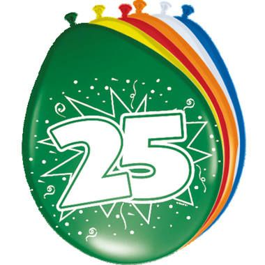 Foto van Leeftijd ballonnen 25 jaar 8 stuks