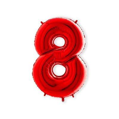 Foto van Folieballon cijfer 8 rood XL (100cm)