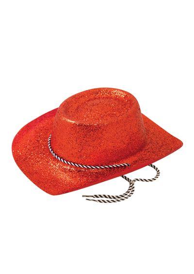 Rode glitter Cowboy Hoed