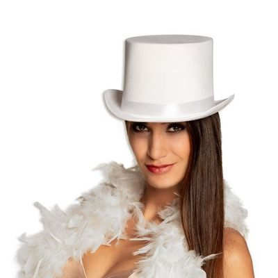 Hoge hoed satijn Wit